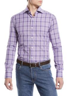 Isaia Men's Graph Plaid Cotton Sport Shirt