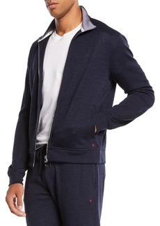 Isaia Men's Heathered Jersey Track Jacket
