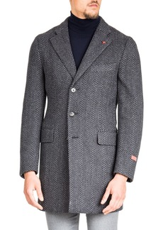 Isaia Men's Herringbone Wool Coat