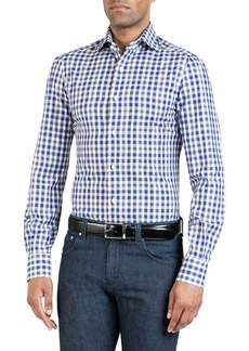 Isaia Men's Large Check Sport Shirt