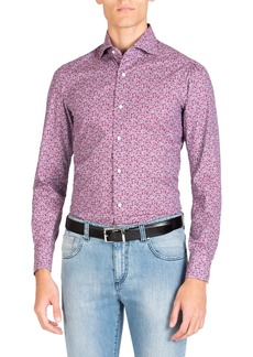 Isaia Men's Long Sleeve Denim Floral Print Sport Shirt