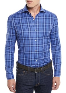 Isaia Men's Madras Plaid Cotton Sport Shirt