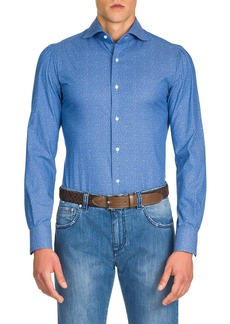 Isaia Men's Micro-Leaves Sport Shirt