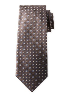 Isaia Men's Micro-Squares & Dots Silk Tie