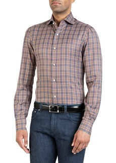 Isaia Men's Plaid Sport Shirt