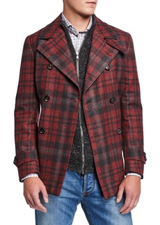 Isaia Men's Plaid Wool Pea Coat