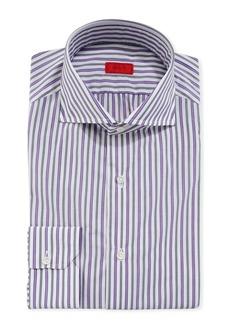 Isaia Men's Shadow-Striped Cotton Dress Shirt