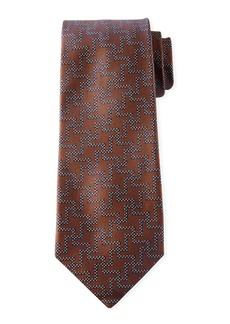 Isaia Men's Silk Exploded Houndstooth Tie  Tobacco