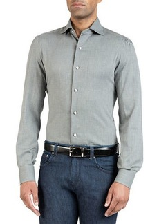 Isaia Men's Solid Chambray Sport Shirt
