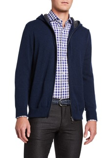Isaia Men's Two-Tone Cashmere Zip-Front Hoodie