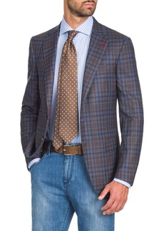 Isaia Men's Two-Tone Check Two-Button Jacket  Blue/Brown