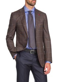 Isaia Men's Two-Tone Check Two-Button Jacket  Tan/Navy