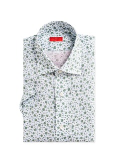 Isaia Men's Two-Tone Floral-Print Short-Sleeve Sport Shirt