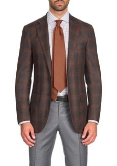 Isaia Men's Two-Tone Plaid Super 140s Wool Two-Button Jacket