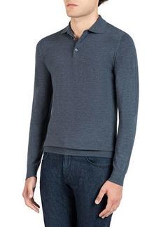 Isaia Men's Wool Long-Sleeve Polo Shirt