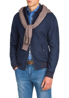 Isaia Men's Zip-Front Cashmere Bomber Jacket