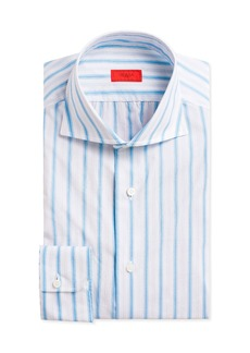 Isaia Multi-Stripe Cotton Dress Shirt  White/Blue