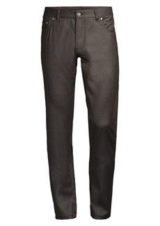Isaia Slim-Fit Five-Pocket Flannel Wool-Blend Pants