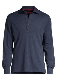 Isaia Solid Cashmere & Silk Pique Long-Sleeve Polo