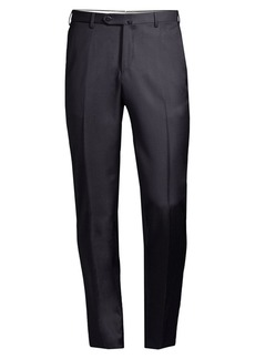 Isaia Solid Flat Front Trousers