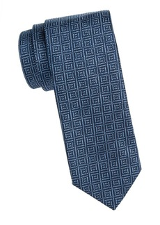 Isaia Square Pattern Silk Tie