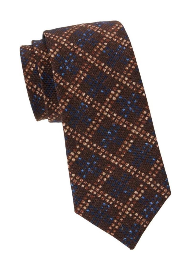 Isaia Textured Check Wool & Silk Tie
