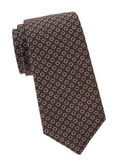 Isaia Textured Dots Silk & Wool Tie