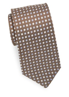 Isaia Three-Tone Polka Dot Silk Tie