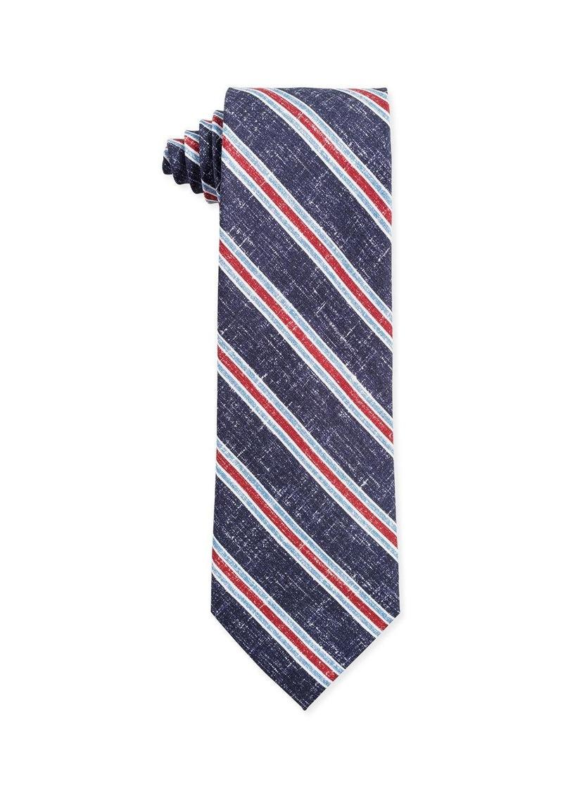 Isaia Tri-Color Stripe Silk Tie