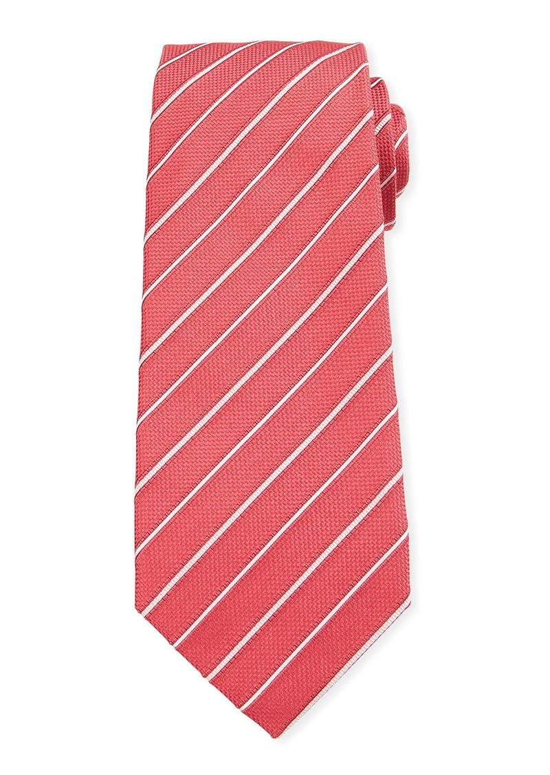 Isaia Two-Tone Stripe Silk Tie