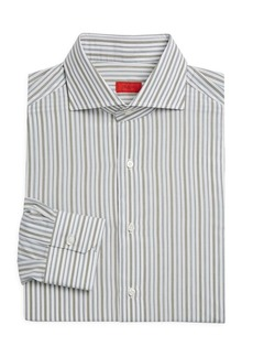 Isaia Uneven Stripe Cotton Dress Shirt