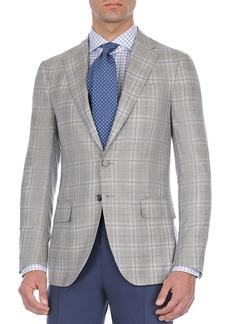 Isaia Windowpane Plaid Cashmere-Blend Sport Coat