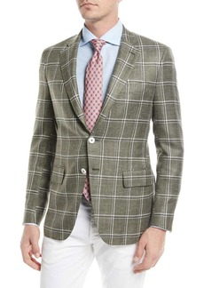 Isaia Windowpane Twill Two-Button Jacket