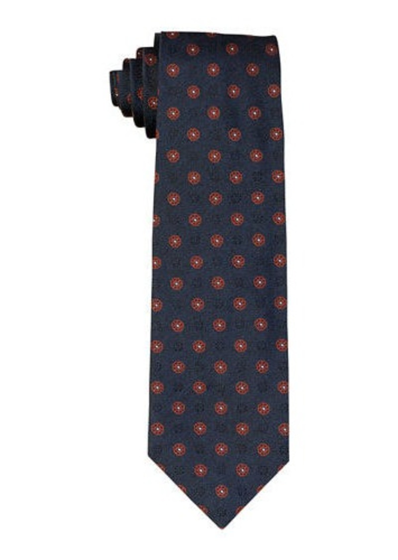 Isaia Woven Flower Silk Tie