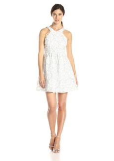 Ivy & Blu Women's Cutaway Fit and Flare Bonded Floral Lace Party Dress