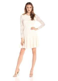 Ivy & Blu Women's Long Sleeve Lace Fit and Flare Dress with Flounce Hem