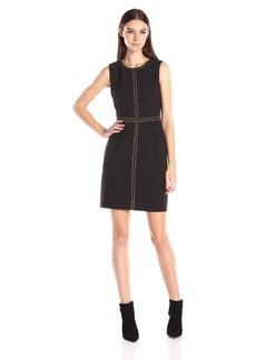 Ivy & Blu Women's Sleeveless Crepe Dress with Embellished Rock Stud Detail