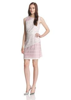 Ivy & Blu Women's Sleeveless Stripe and Lace Sheath Dress