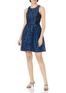 Ivy & Blu Women's Sleeveless Stripe Polka Dot Burnout Fit and Flare Dress