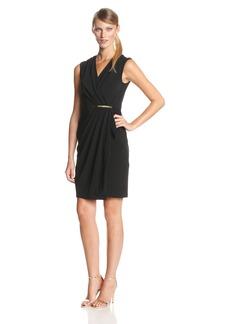Ivy & Blu Women's V-Neck Faux Wrap Sheath Dress