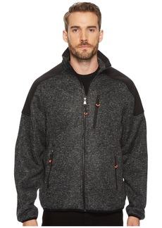 Izod Heathered Zip Front Sweater Fleece Jacket
