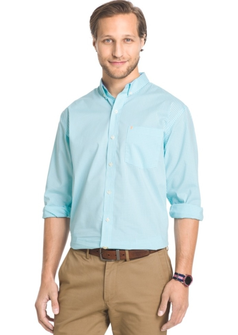 Izod Big and Tall Gingham Long-Sleeve Shirt