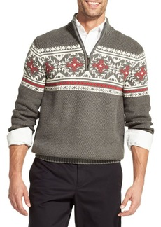 IZOD Classic Fit 5GG Fair Isle Fancies Quarter-Zip Sweater