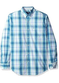 IZOD Men's Premium Performance Natural Stretch Plaid Long Sleeve Shirt (Regular and Slim Fit)