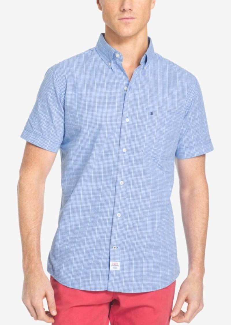 Izod Men's Big & Tall Mini-Plaid Short-Sleeve Shirt, Classic Fit