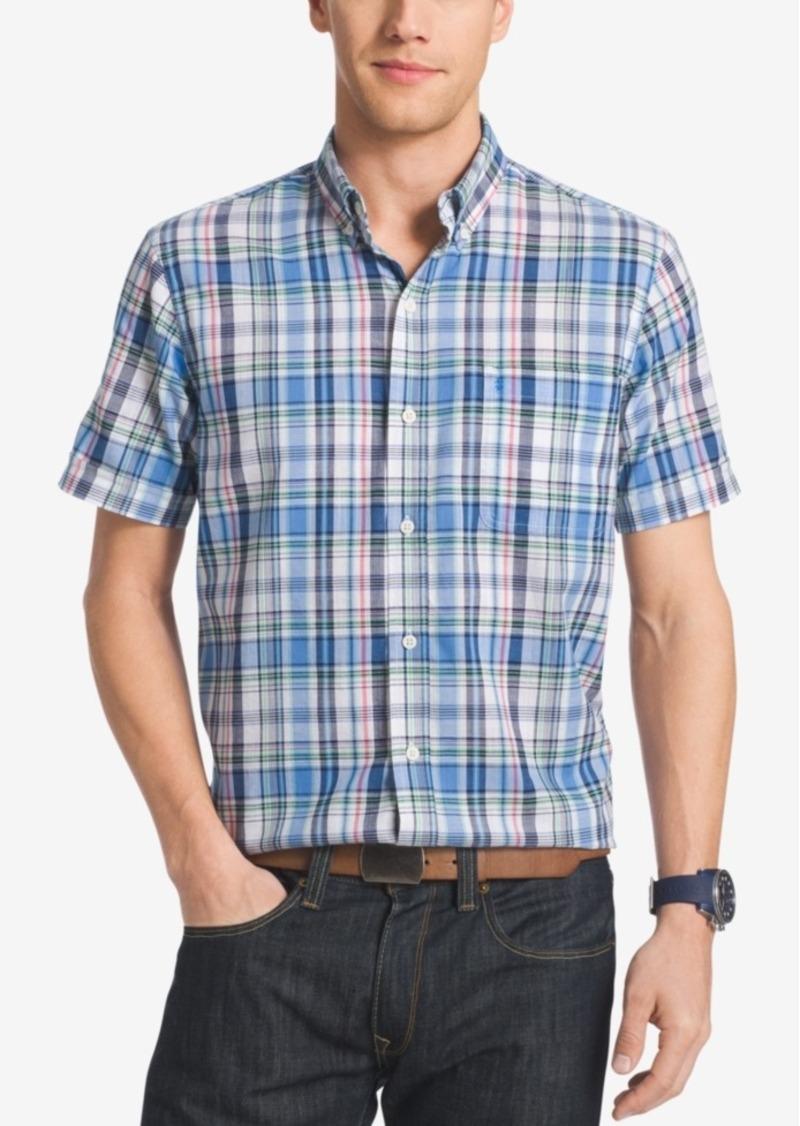 Izod Men's Big & Tall Plaid Short-Sleeve Shirt