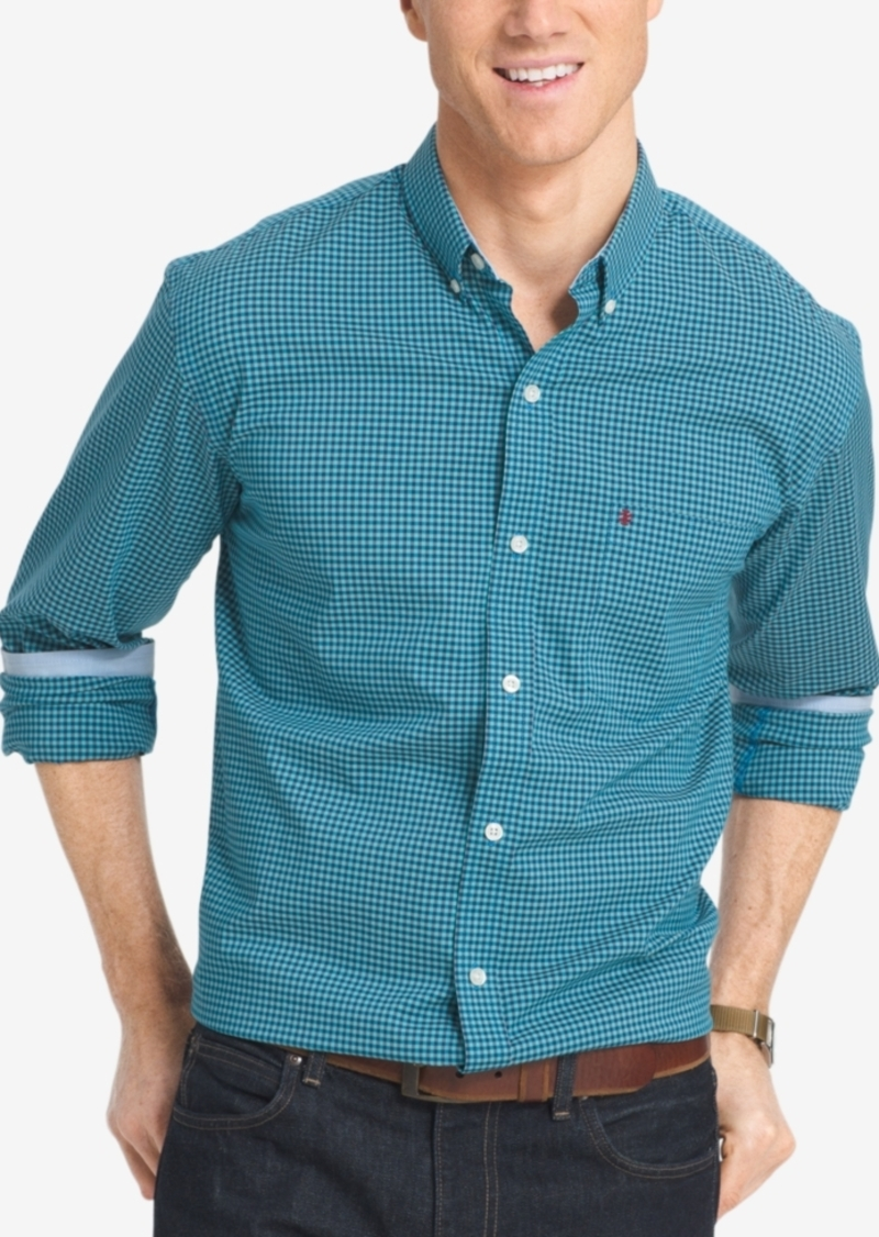 Izod Men's Big and Tall Gingham Long-Sleeve Shirt