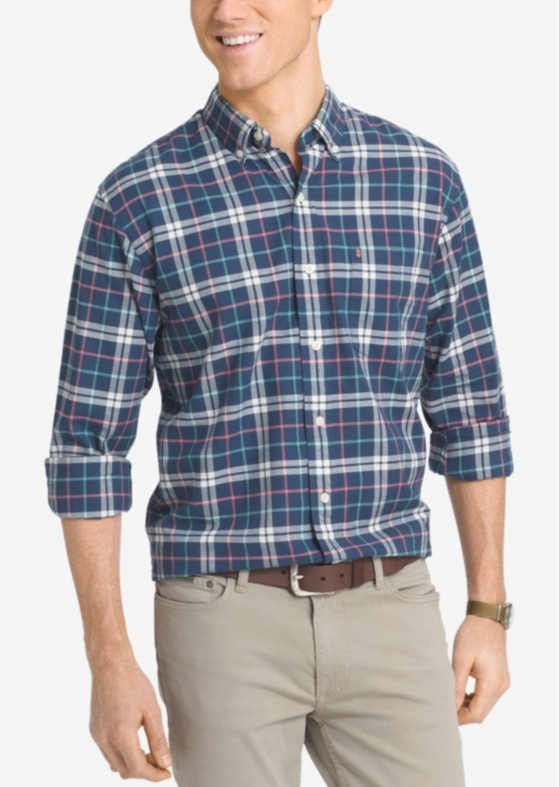 Izod Men's Big and Tall Plaid Long-Sleeve Shirt