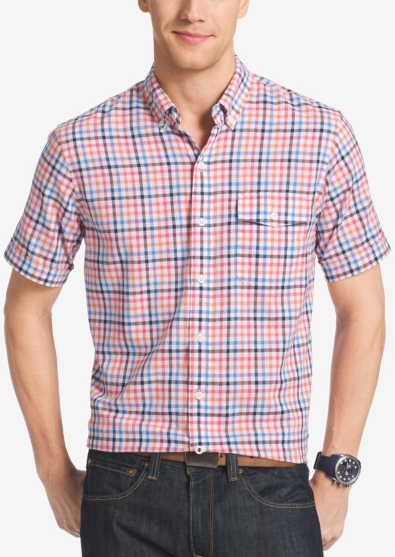 Izod Men's Big and Tall Plaid Short-Sleeve Shirt