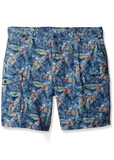 IZOD Men's Big and Tall Printed Flat Front Cargo Short